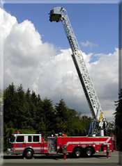 Ladder 54's aerial platform being raised (100 feet)